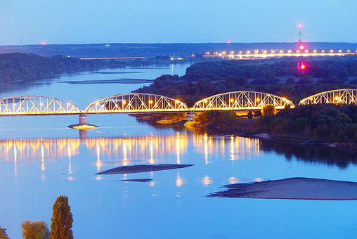 Bridge, The Vistula River, The Wave Is Reflected