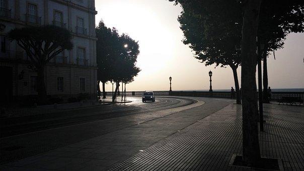 Car, Twilight, Sunset, Horizon, Cadiz, Spain, Trees