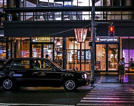 Kyoto, Japan, Night, City, Taxi, Cityscape, Street