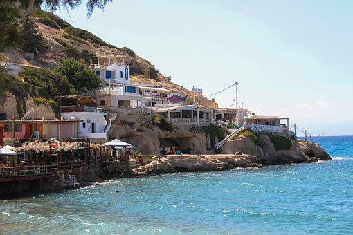 Matala, Crete, Village, Greece, Sea, Caves, House