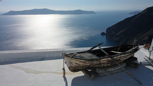 Santorini, Greece, Boat, Sea, Aegean, Cyclades