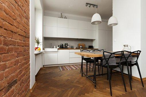 Apartment, Wall Of Bricks, Dining Table, Brick, Design