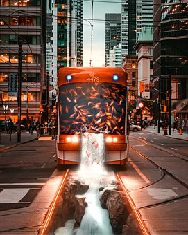 City, Tram, Waterfall, Fantasy, Photoshop, People