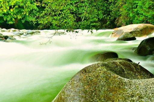 Downstream, River Rocks, Green Environment