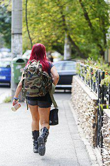 Woman, Hair, Red, Shorts, Fashion, Backpack, Boots, Bag