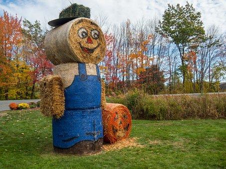 Scarecrow, Autumn, Fall, Seasonal, Harvest, Hat, Hay