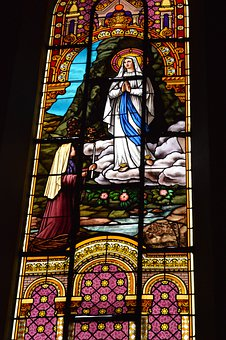 Stained Glass, Window, Church, Cave, Heavy, Mary
