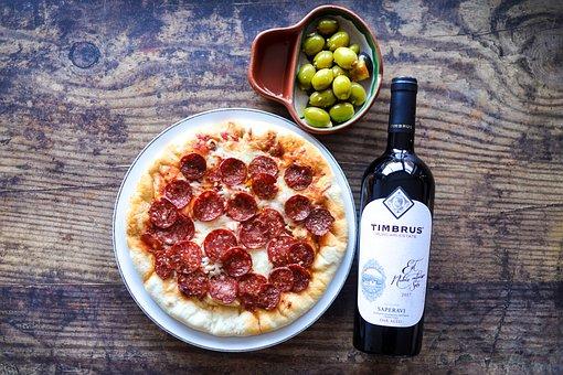 Pizza, Wine, Olives, Food, Italian, Meal, Italian Food