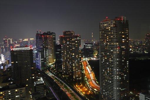 Tokyo, Bill, Sky, Night, Landmark, Modern, Night View