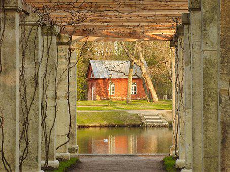 House, Park, Red, Roof, Garden, Architecture, Nature