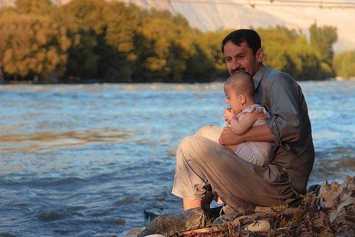 Father, Son, River, Landscape, Portrait, Family, Dad