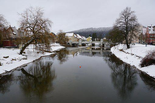 Tuttlingen, Danube, Winter, Landscape, River, Water