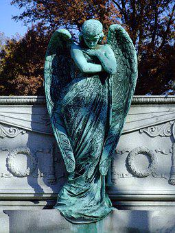 Statue, Cemetery, Sculpture, Mourning, Stone, Wing