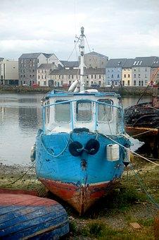 Boat, Port, Sea, Ireland, Old, Broken, On Land, Ship