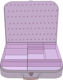Suitcase, Purple, Open, Compartment, Baggage, Handle