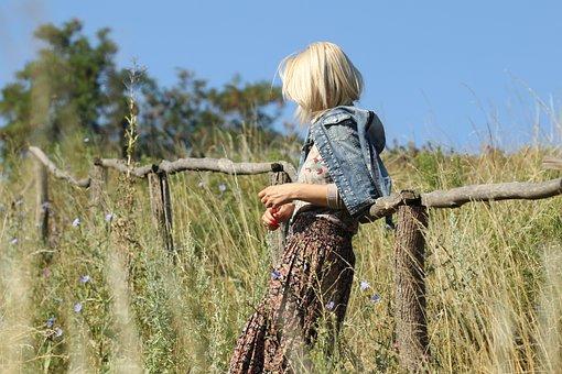 Girl, Nature, Meadow, Grass, A Wooden Fence, Summer