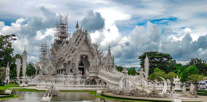 White Temple, Thailand, Architecture, Clouds, Sky