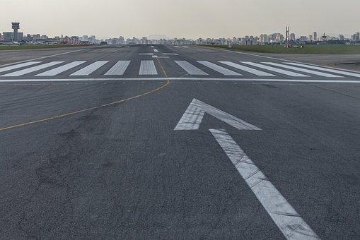Runway, Tarmac, Arrow, Line, Airport, Urban, City
