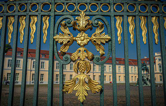 Castle Park, Fence, Iron, Metal, Art, Gold, By Looking
