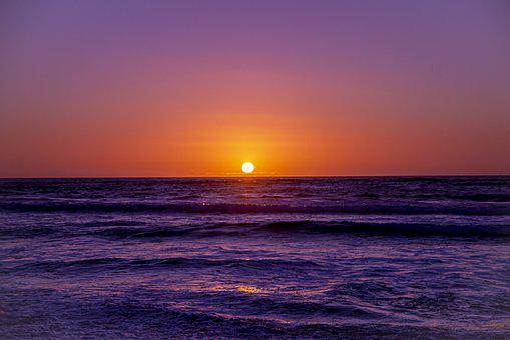 Sunset, Beach, Ocean, Dusk, Waves, Landscape, Sky