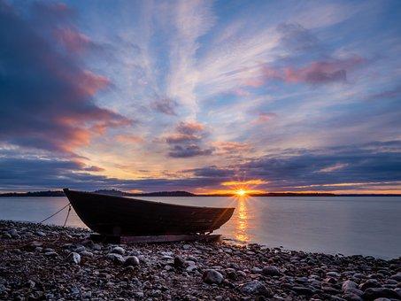 Boat, Sunset, Beach, Water, Lake, Landscape