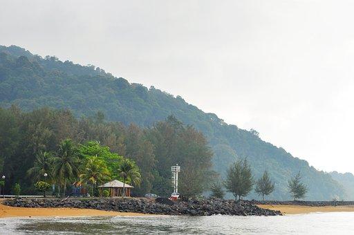 Mountain, Beach, Tree, Sky, Water, Nature, Blue