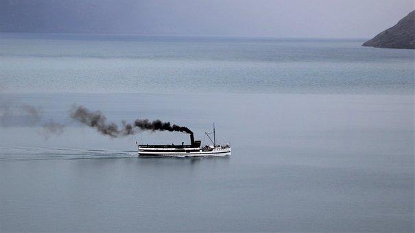 Steam, Boat, Ship, Water, Lake, Steamer, Smoke, Old