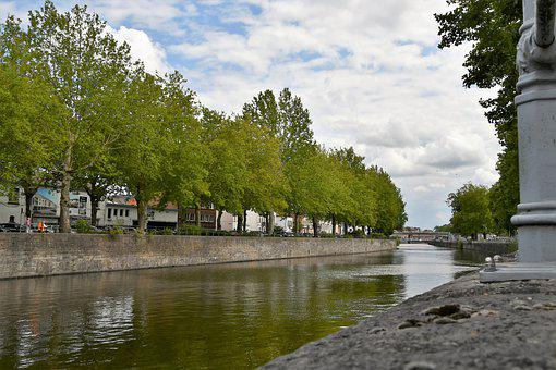 Water, Channel, Tree, Tournai, Architecture, City