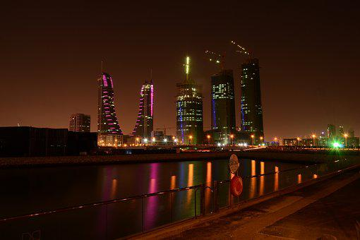 Bahrain, Night, City, Buildings, Evening, Lights