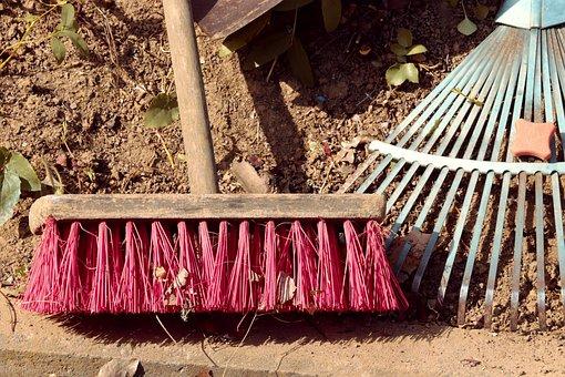 Broom, Computing, Garden Rake, Raking Leaves, Autumn