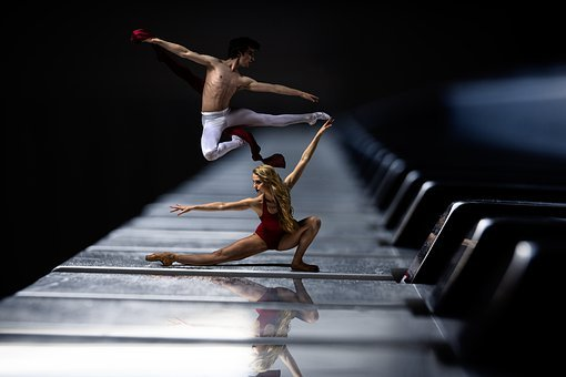 Piano, Ballet, Dancer, Piano Keys, Leap, Dance, Red