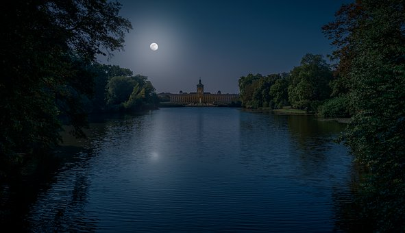 Night, Dark, Castle, Building, Castle Park, Sky, Moon