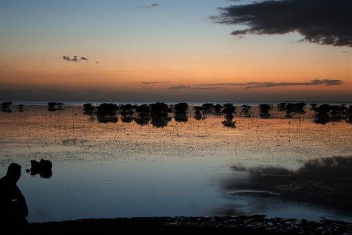 Sun, Set, Dusk, Peaceful, Water, New, Caledonia