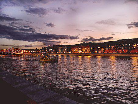 Moscow, River, Quay, Lights, Evening, Sunset, Sky