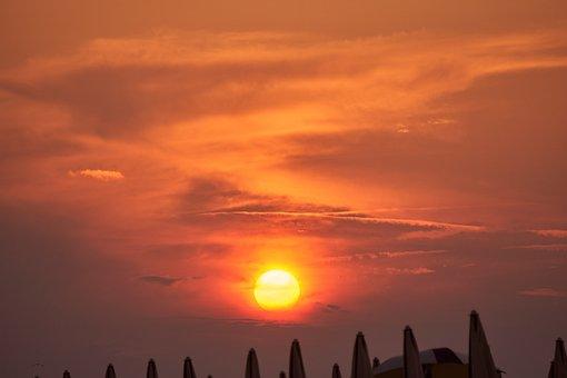 Sunset, Afterglow, Fireball, Sun, Backlighting, Mood