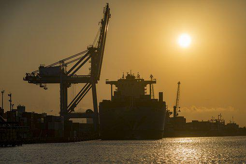 Silhouette, Port, Terminal, Ship, Gantry, Crane