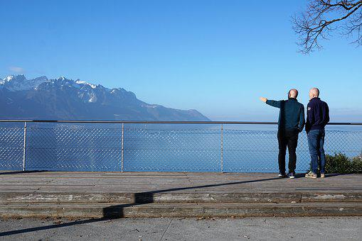 Geneva, Switzerland, Mountain, Man, Friend, Lake