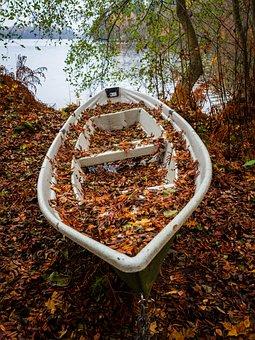 Boat, Autumn, Foliage, Lake, Landscape, Nature