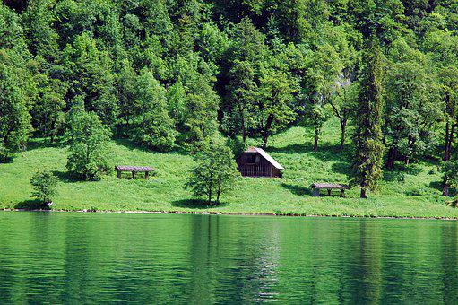 Lake, Hut, Woodhouse, Switzerland, Autumn, Rest