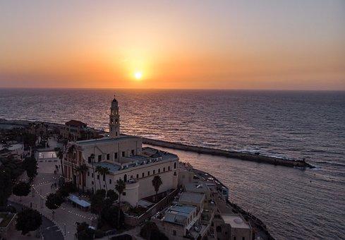 Sunset, Beach, Sea, Church, Aerial, Vacation, Orange