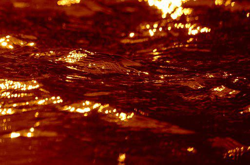 Water Surface, Water, Reflection, Orange, Wave