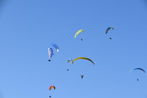 Paragliders, Sails, Wings, Blue Sky, Paragliding, Fly