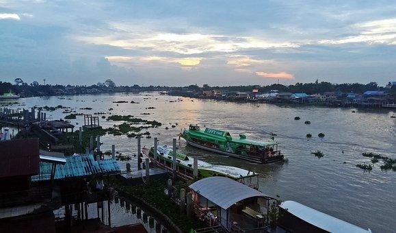 River, Boat, Lake, Sky