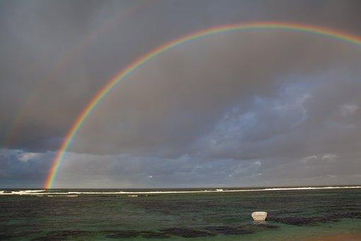 Mauritius, Rainbow, Rainbow At Sea, Coastline, Sea View
