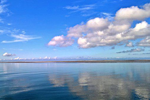 Sea, North Sea, Shipping, Blue Water, Cloud Formation