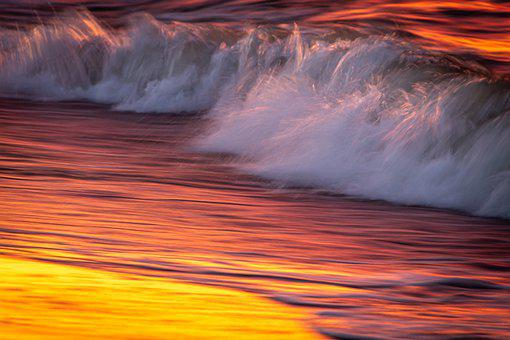 Wave, Soft, Romantic, Out Of Focus, Mood, Sunset
