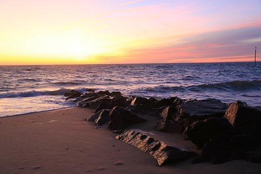 Sun Rise, Sea, Beach, Ocean, Sky, Morning, Orange