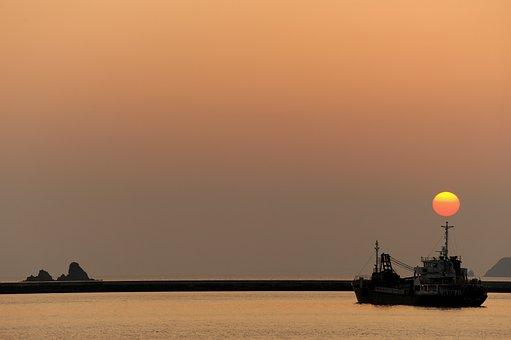 Sunset, Ship, Natural, Landscape