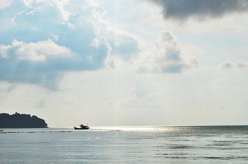 Clouds, Beach, Boat, Sky, Water, Nature, Landscape