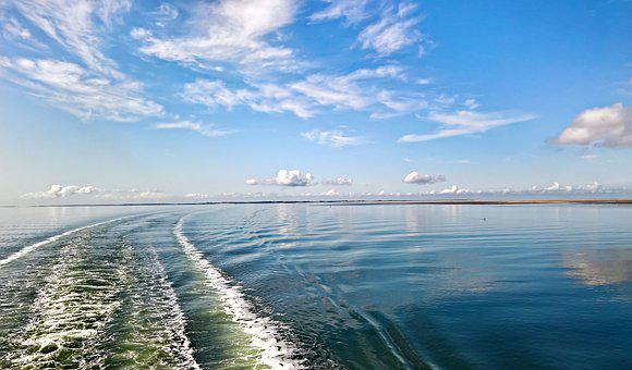 Sea, North Sea, Shipping, Ferry, Blue Water, Wave